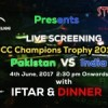 Pak vs Ind – ICC Champions Trophy '17 – Live Screening [4 June]